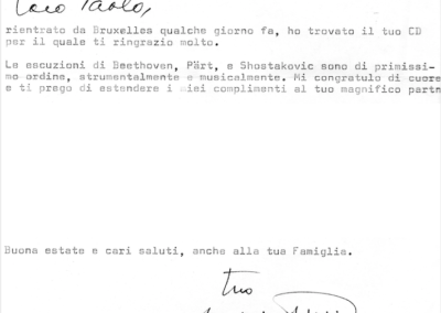 Lettera da Franco Gulli